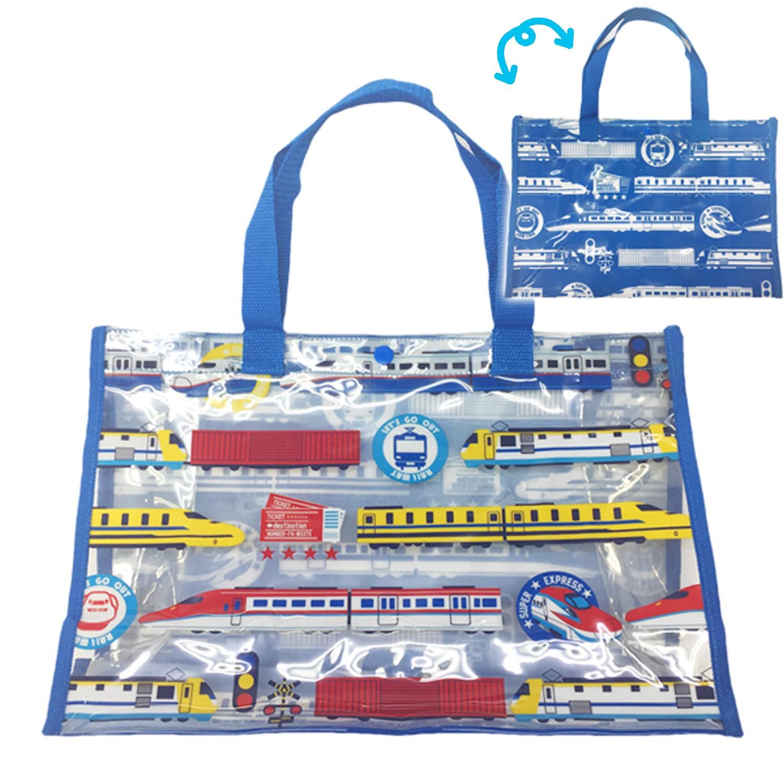 防水PVC游泳包(雙面圖案設計)-電車-藍 (25x36x13cm)