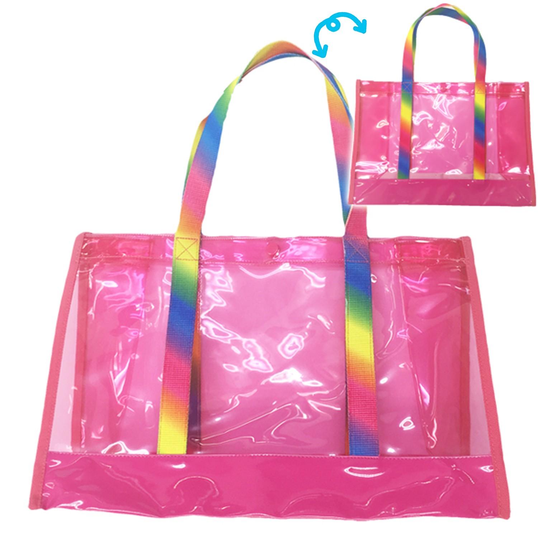 防水PVC游泳包(雙面圖案設計)-彩虹-桃 (25x36x13cm)