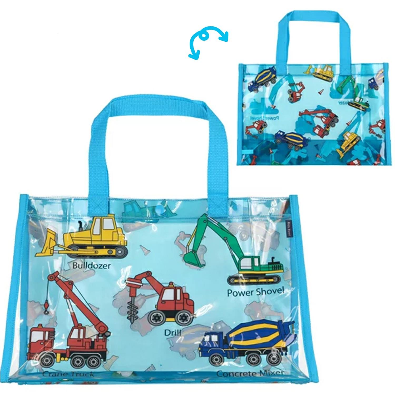 防水PVC游泳包(雙面圖案設計)-工具機大集合-水藍 (25x36x13cm)