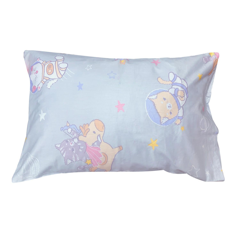 義大利Fancy Belle純棉兒童枕套--1入-夢遊星空-灰
