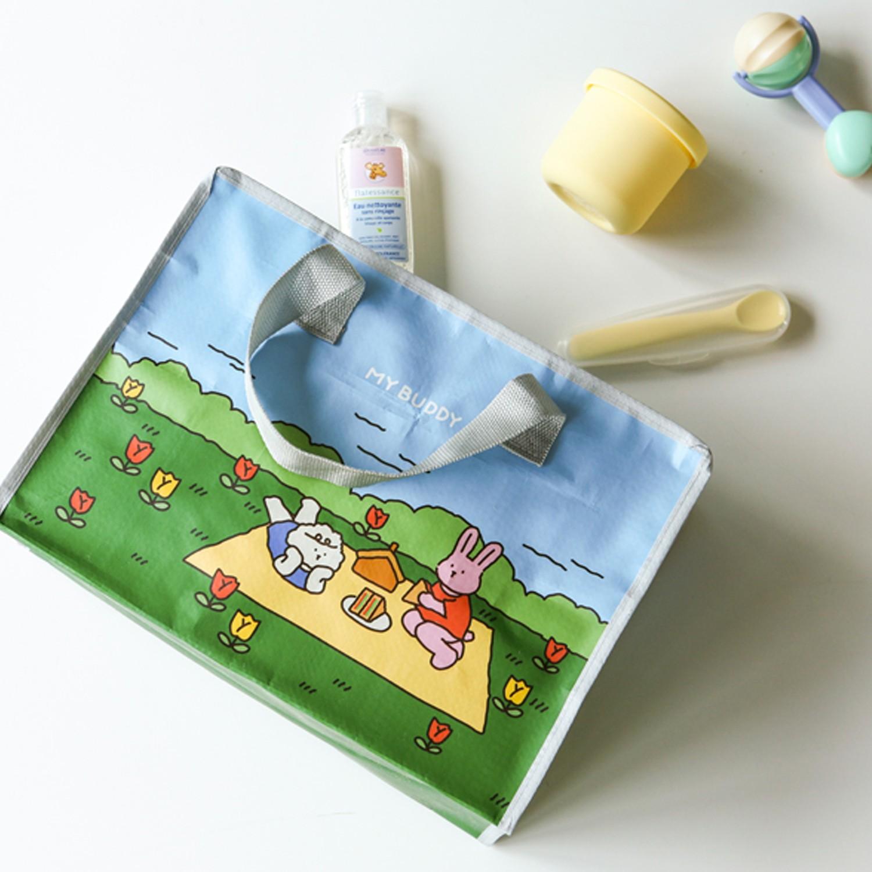 拉鍊衣物/玩具收納袋(1入)(小)-野餐 (35X25X15cm)