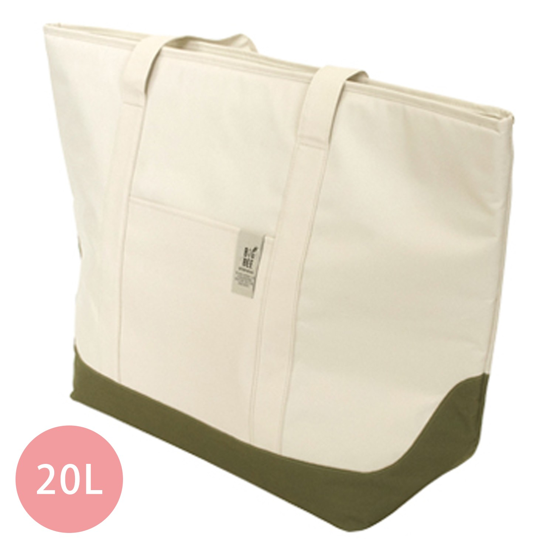 保冷機能肩背包/購物袋-米白 (L(63x60cm))-20L