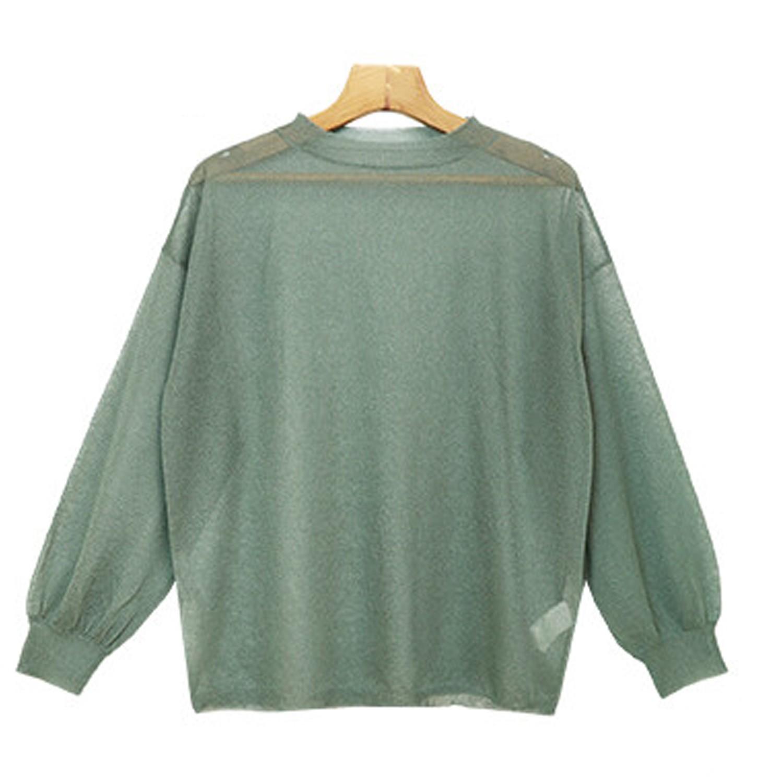 時尚透視感輕薄針織長袖上衣-綠-6001469
