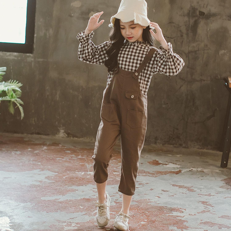 卡其格紋花袖吊帶褲-上衣+吊帶褲 (110cm)