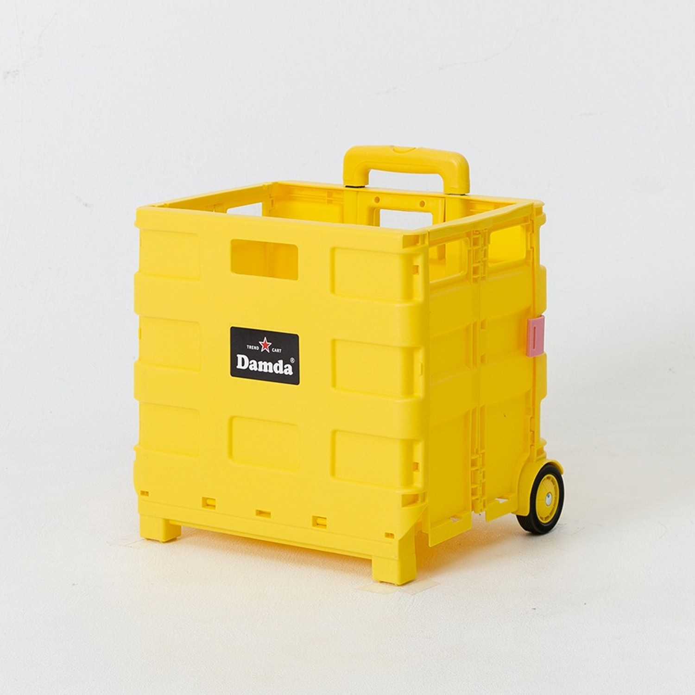 折疊收納手拉車-小-檸檬黃-尺寸:38X30cm, 容量37L