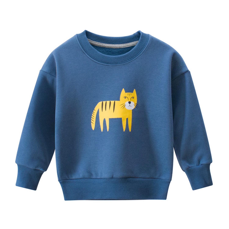 純棉長袖T恤-軍藍老虎 (90cm)