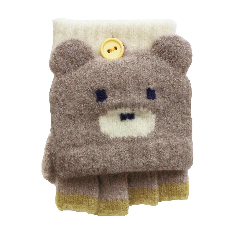 日本製質感動物造型2way小孩手套-小熊-淺灰 (3-6y)