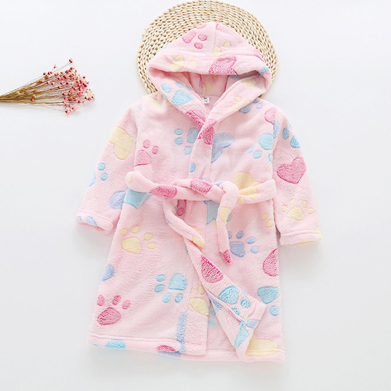超柔軟珊瑚絨浴袍睡衣-粉色貓掌 (90cm)