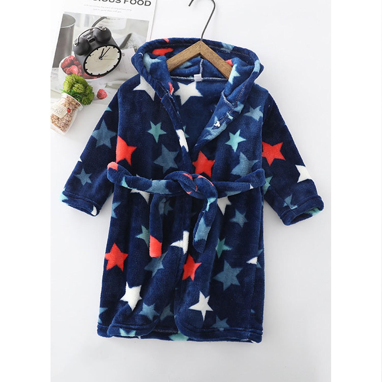超柔軟珊瑚絨浴袍睡衣-深夜星星 (90cm)