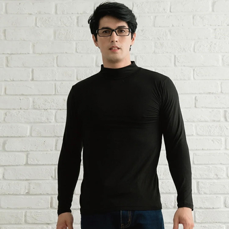 TENCEL日本吸濕發熱纖維保暖衣-女高領-黑色 (M)