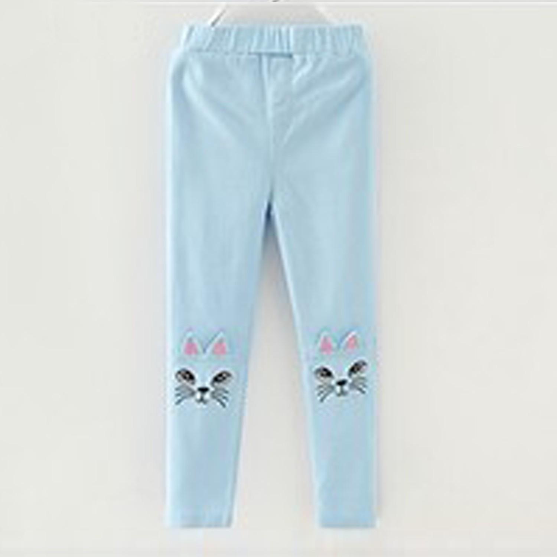 貓咪刺繡長褲-水藍 (100)