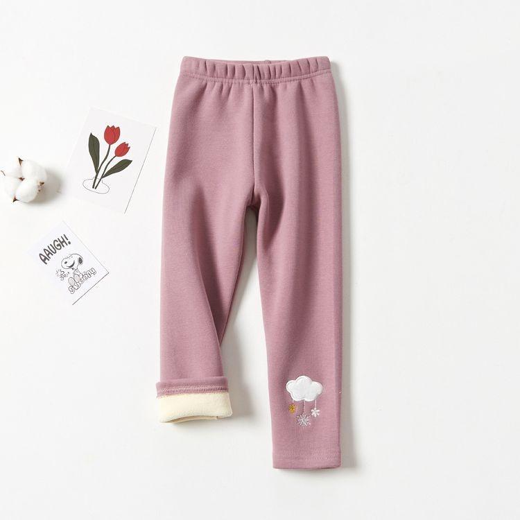 溫暖加絨內搭褲-雲雨雪-粉色 (100cm)