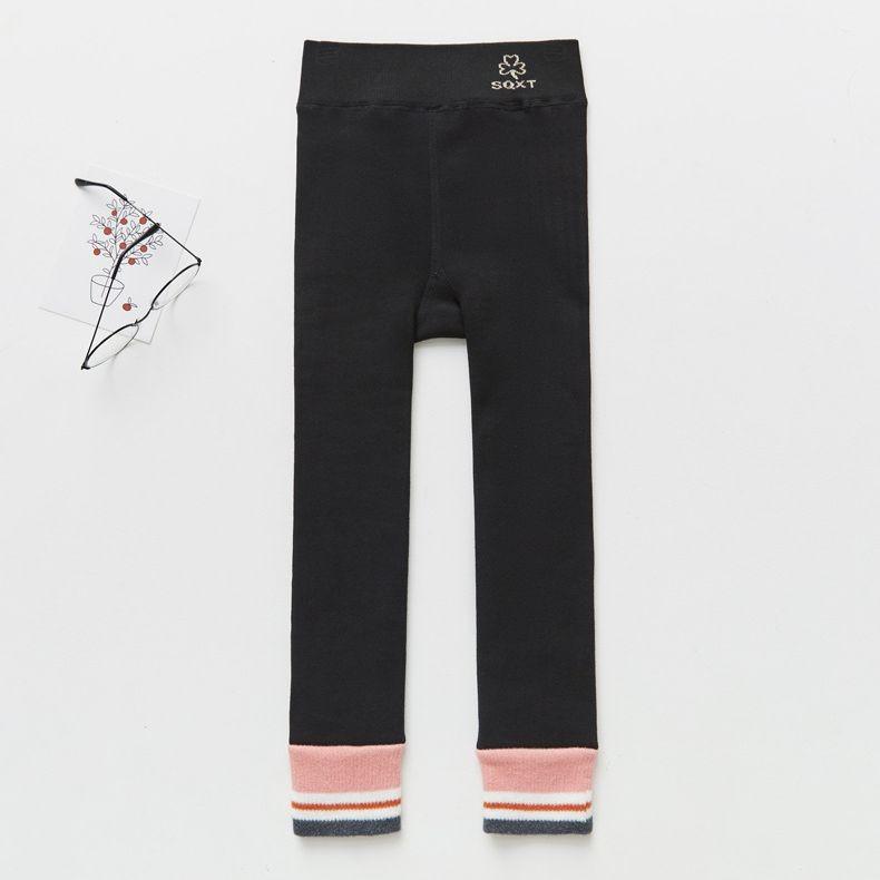 溫暖加絨內搭褲-簡約撞色-黑x粉 (100cm)