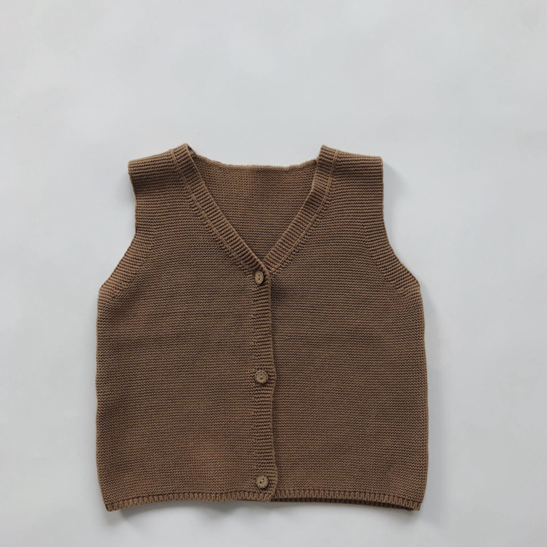 文藝針織短背心-駝色 (90cm)