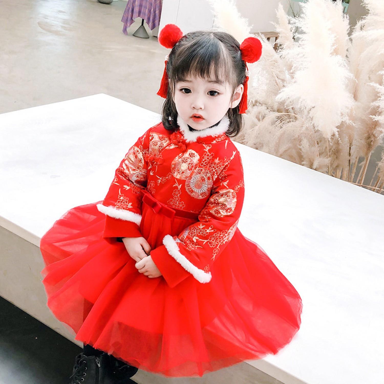 花弄影旗袍紗裙-加絨-紅色 (90cm)