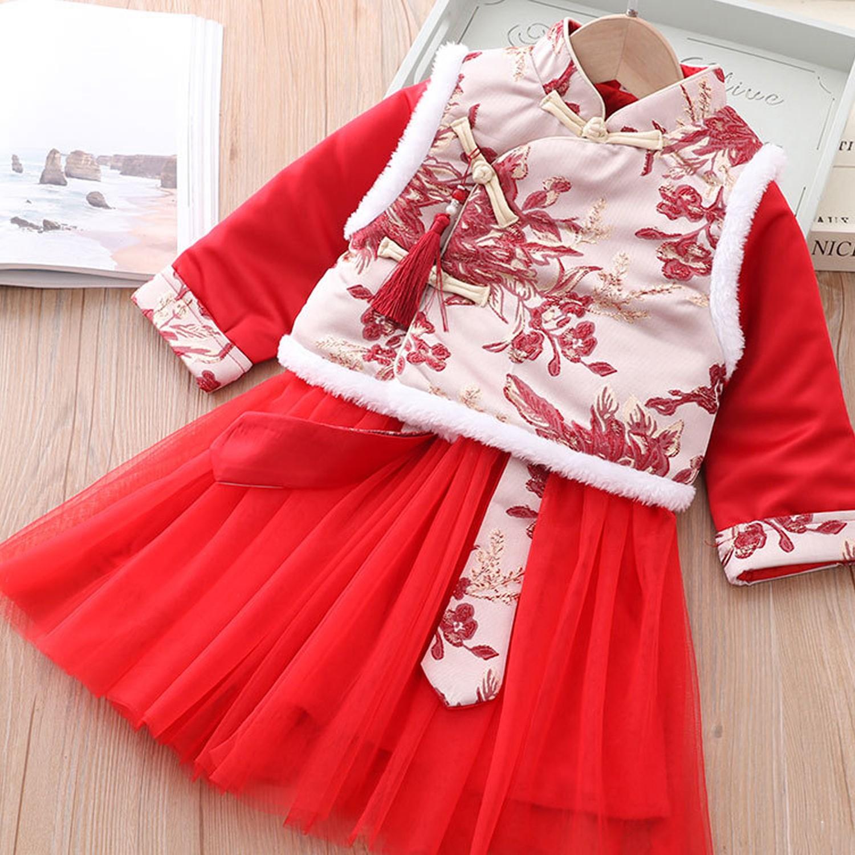 繡花背心唐裝紗裙-加厚款洋裝+背心-紅色 (90cm)