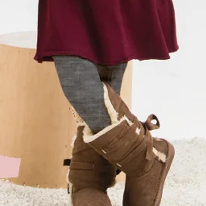 女童精梳棉義式對目褲襪-淺灰 (SS (65~85cm))