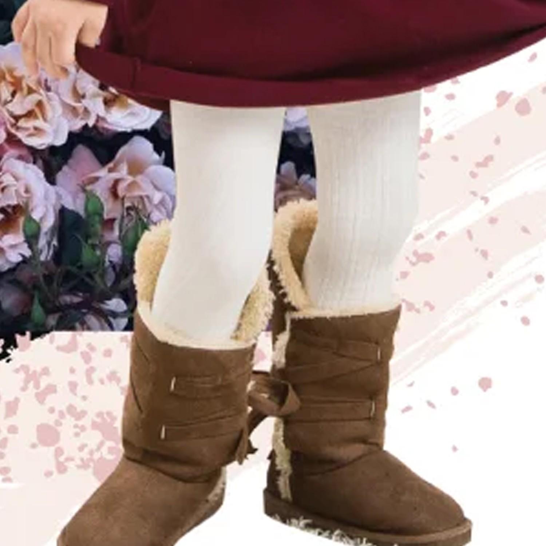 女童精梳棉義式對目褲襪-米白 (SS (65~85cm))