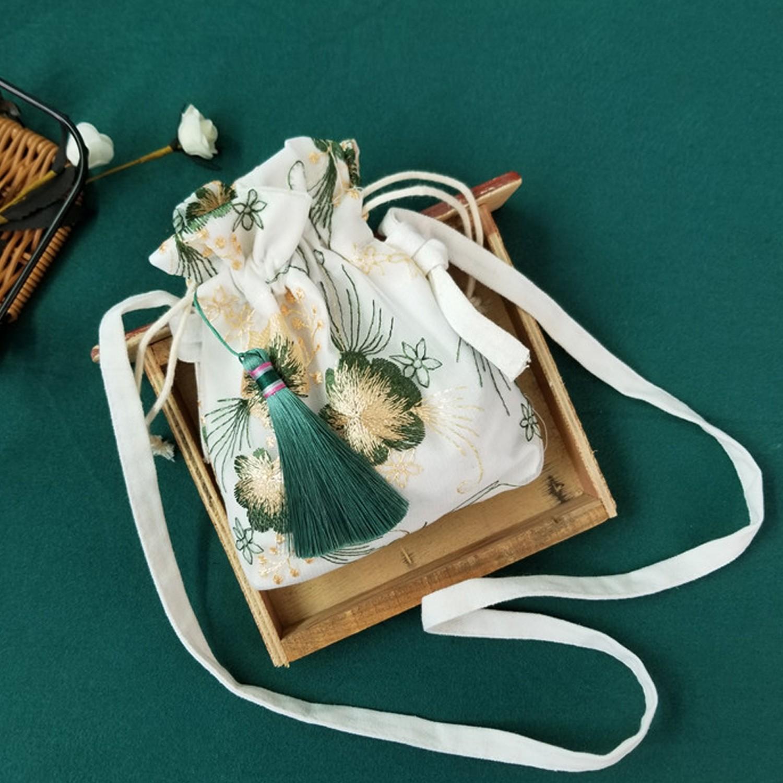 漢服古風刺繡小荷包-荷葉綠