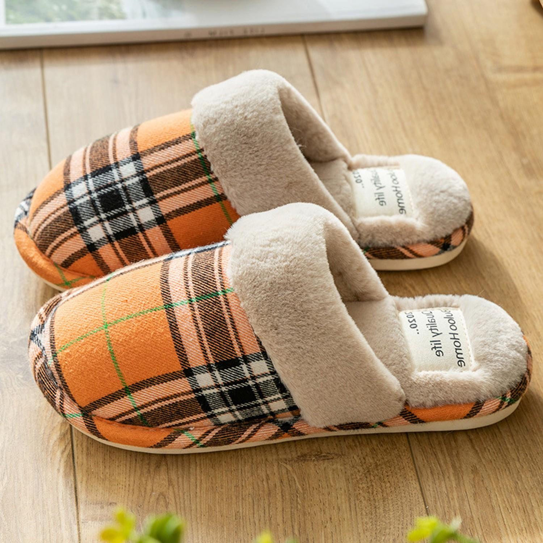 日系格紋防滑保暖棉拖鞋-亮橘 (34-35)