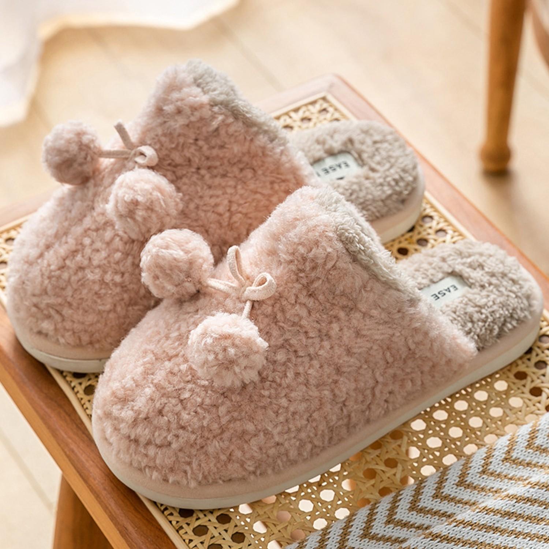防滑保暖毛毛拖鞋-毛球-粉紅 (36-37)