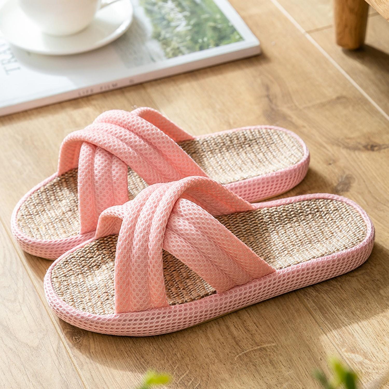 四季款亞麻交叉防滑拖鞋-櫻餅粉 (36-37)