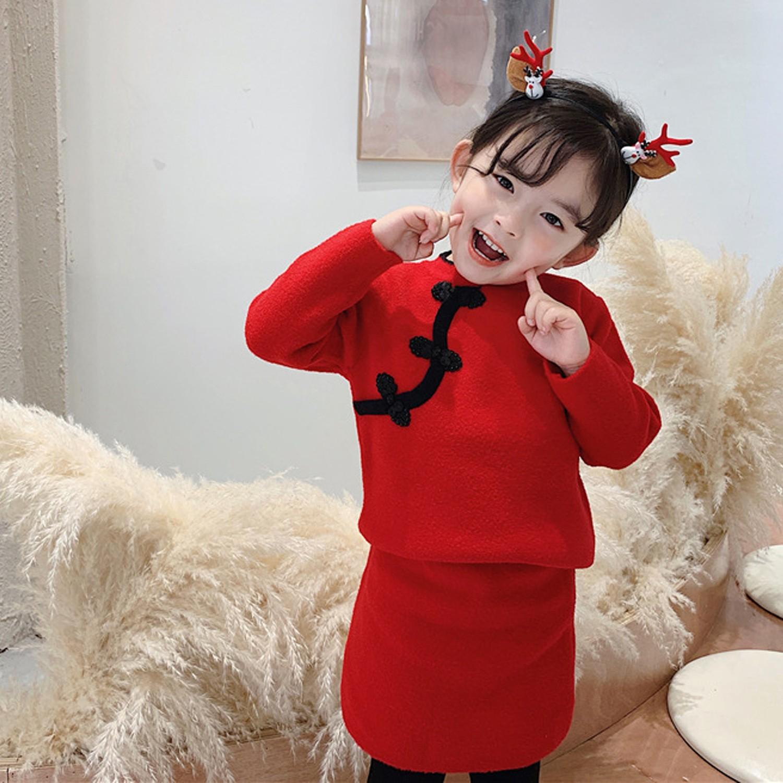 馬海絨旗袍毛衣套裝 (90cm)