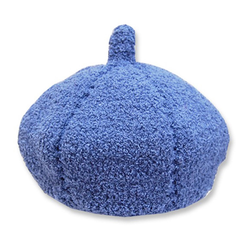 日本製可愛冬帽-小童款-毛絨貝蕾帽_藍色 (S(46-48cm))-93-6006
