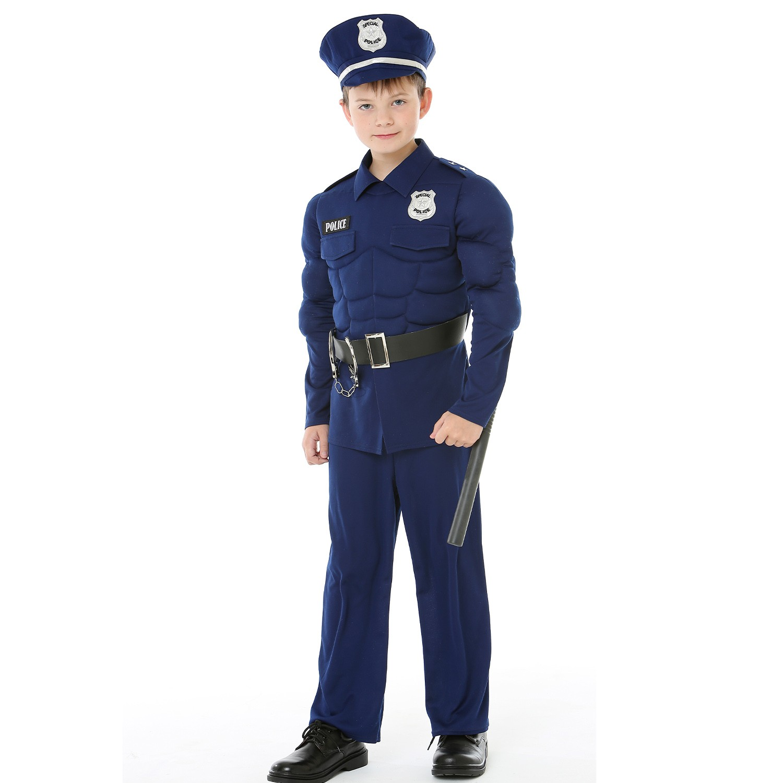 Love, Charlotte - 立體胸肌警察-藍警察褲裝-內含上衣+褲子+帽子+腰帶