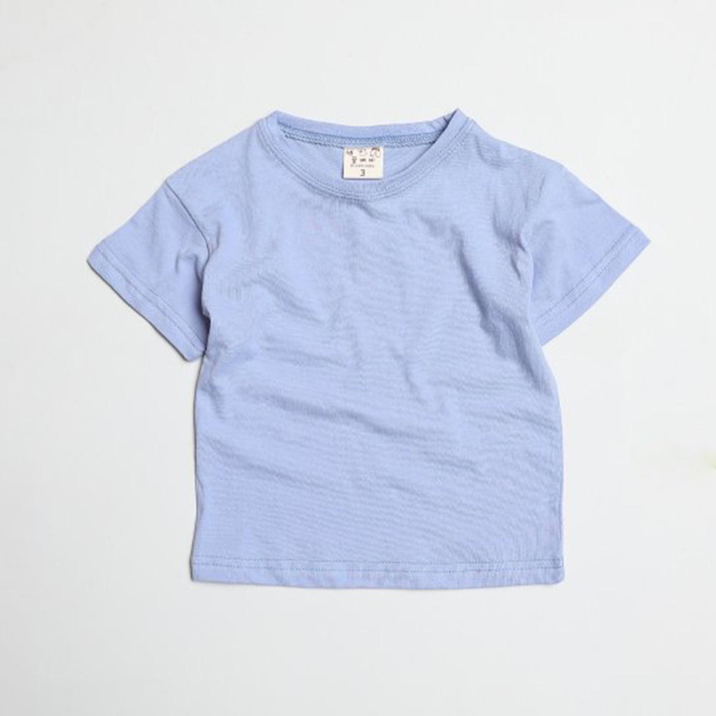 水洗加工布糖果色純棉T-藍 (5[~93cm])