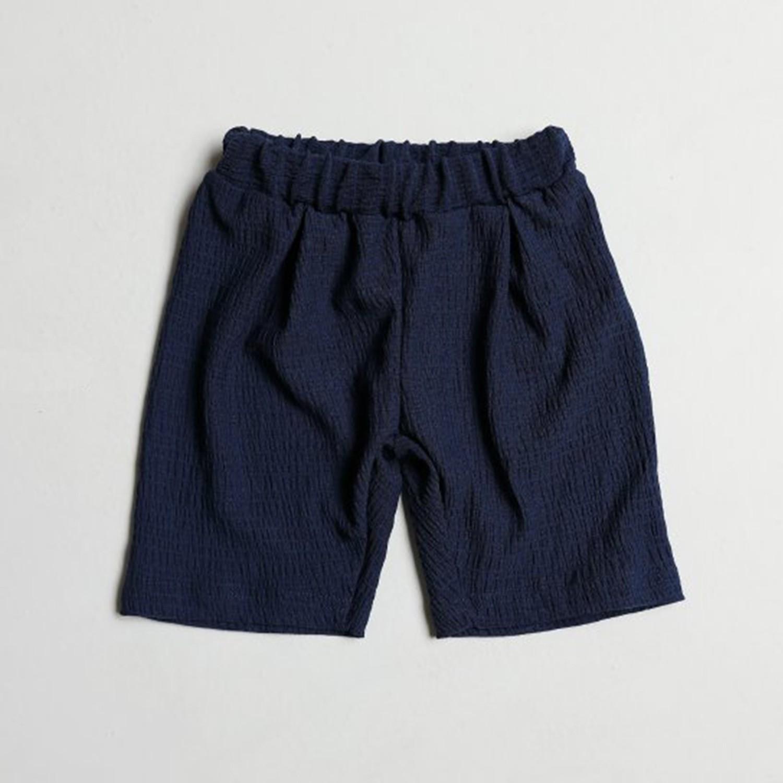 皺摺感涼感短褲-深藍 (5[~93cm])