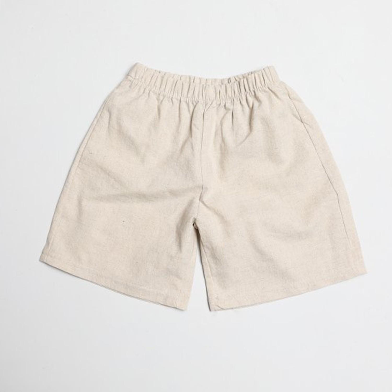 棉麻寬版7分褲-杏 (5[~93cm])