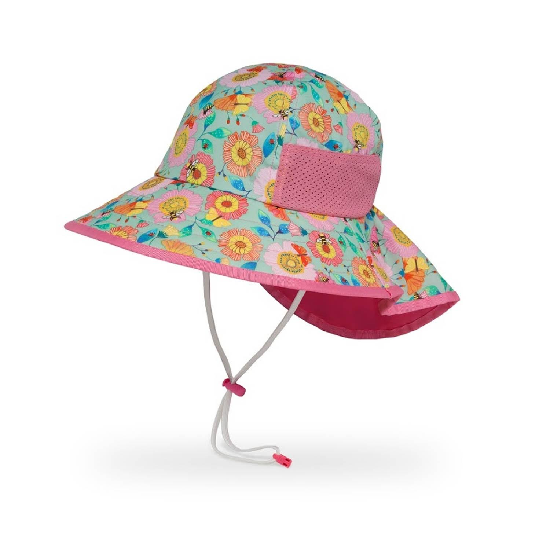 兒童防曬帽-兒童抗UV防潑透氣護頸帽Kids Play Hat-蜂蝶爭艷 (M 頭圍49.5-52CM 帽緣寬8.9CM 建議2-5歲兒童)