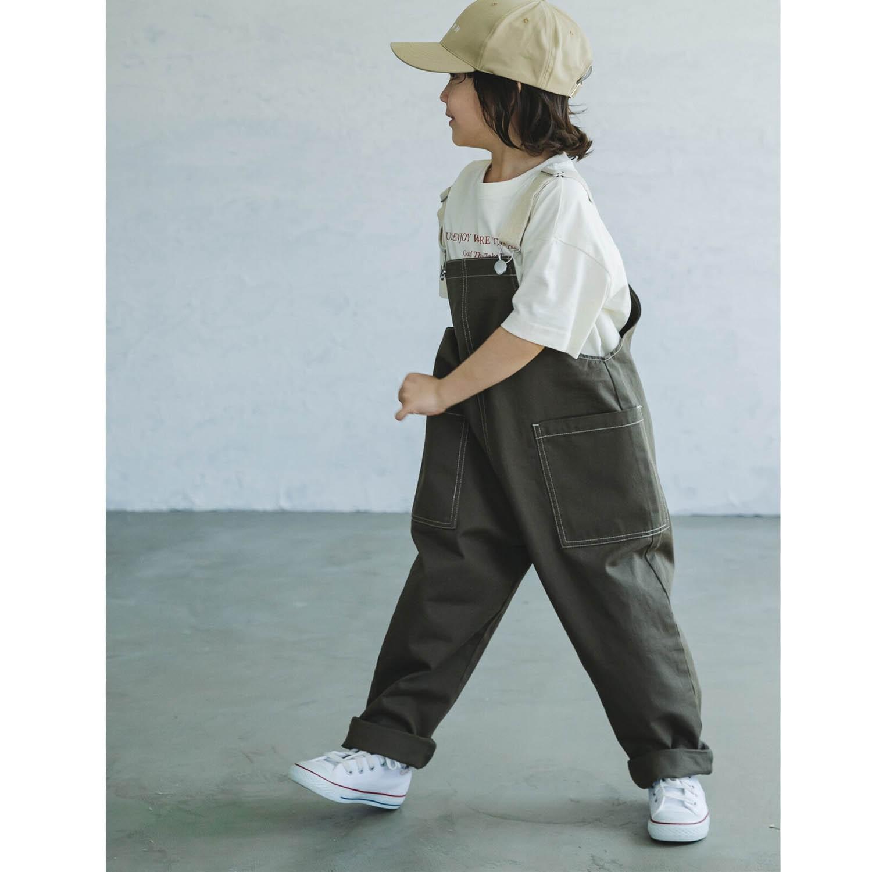 純棉雙口袋吊帶褲(孩子)-墨綠 (90)