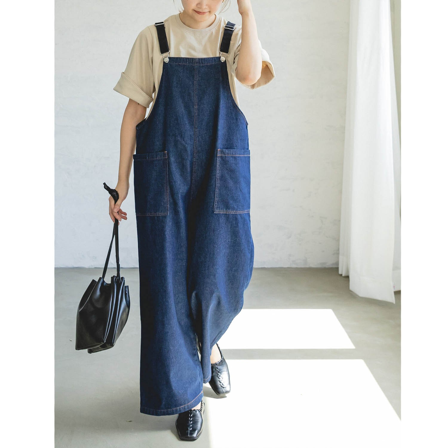 純棉雙口袋吊帶褲(媽媽)-深藍 (FREE)