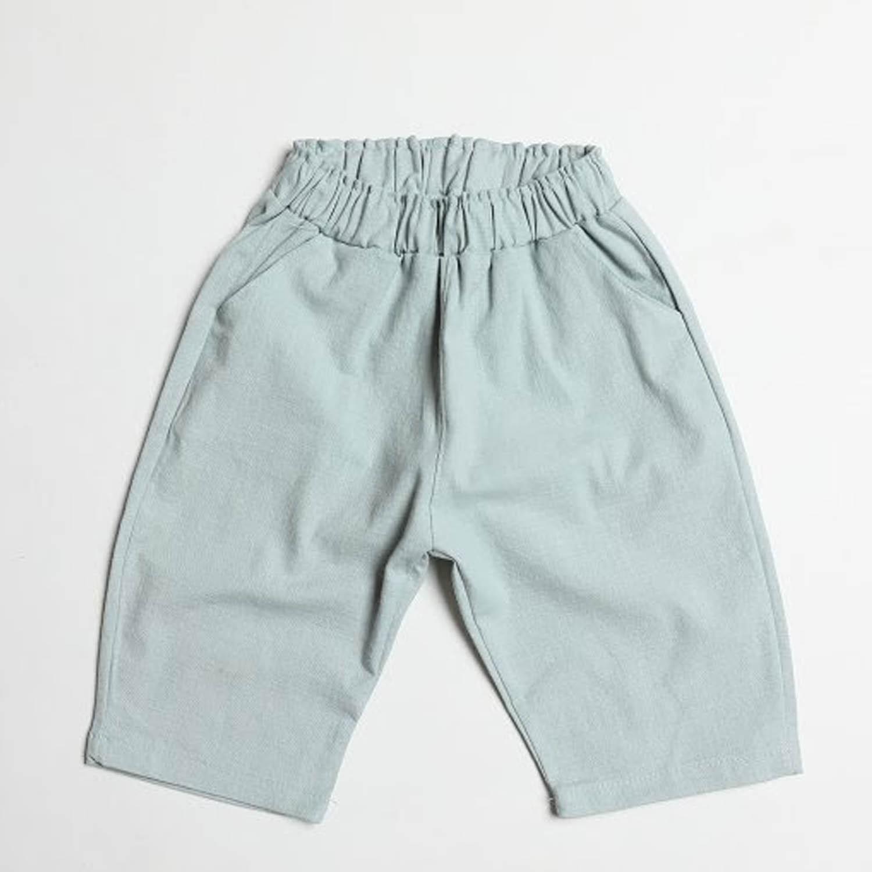 棉麻7分哈倫褲-天藍 (5[~93cm])