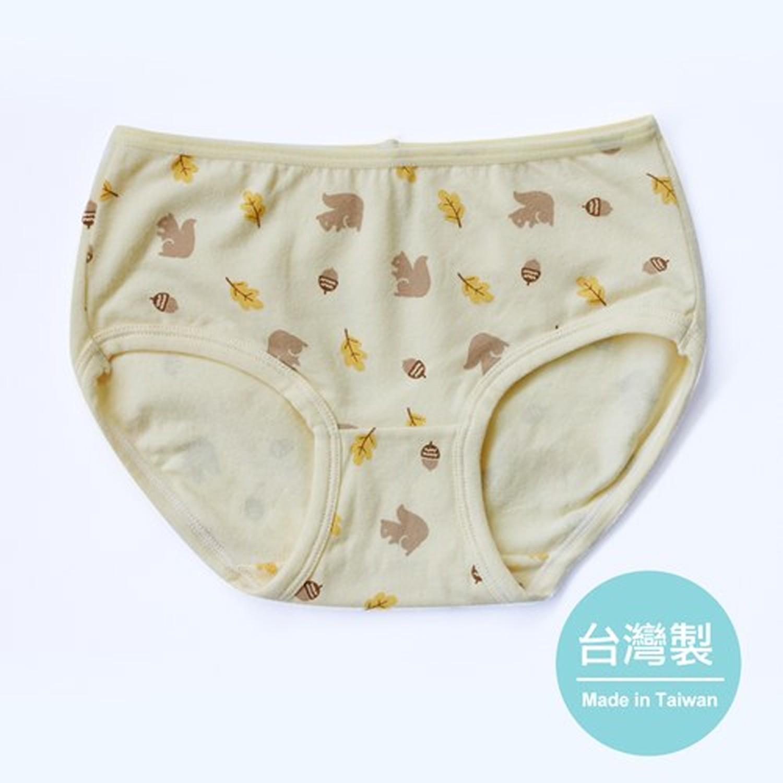 女童三角內褲-松鼠尋找橡實-黃 (XS)