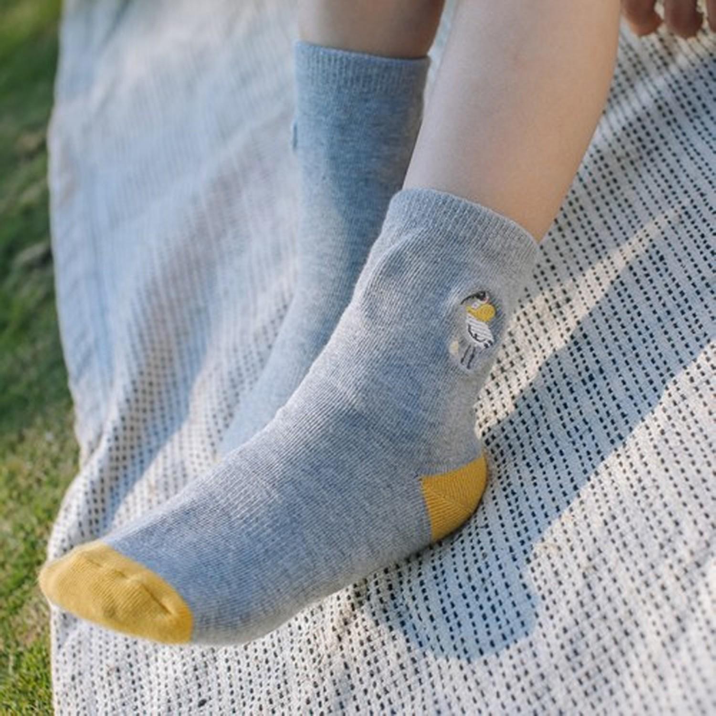 抗菌除臭中筒襪(親子襪)-黑面琵鷺-灰 (腳長12-14cm(止滑))
