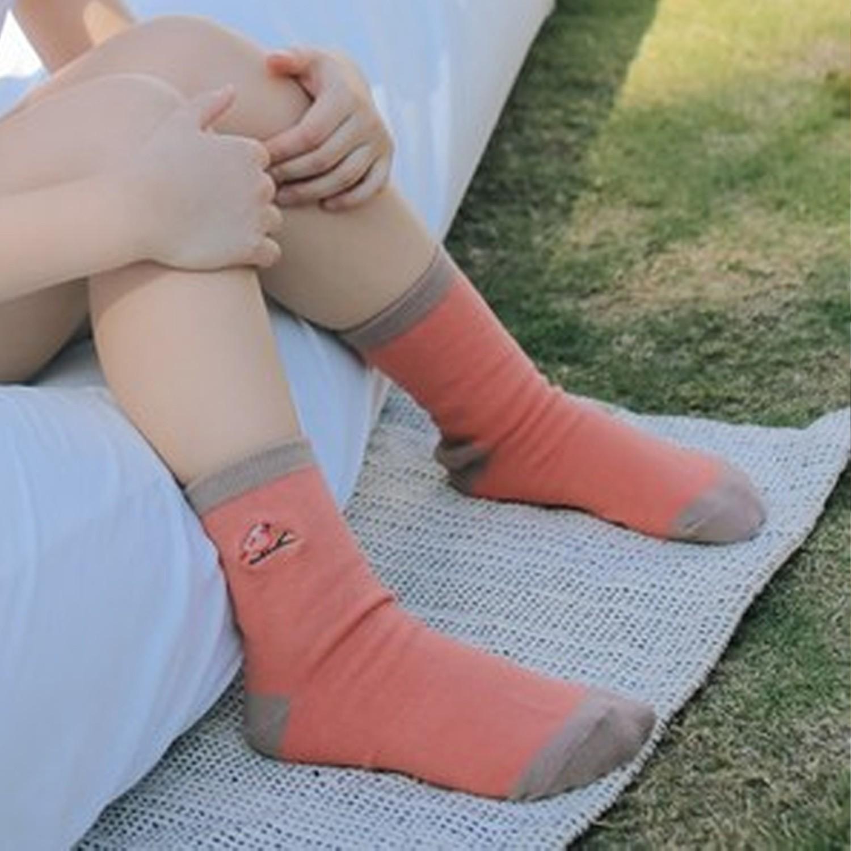 抗菌除臭中筒襪(親子襪)-朱雀-珊瑚紅 (腳長12-14cm(止滑))