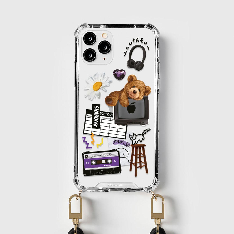 設計款編繩手機殼(編繩另外加購)-錄音熊熊 (iPhone-12/ 12 Pro)