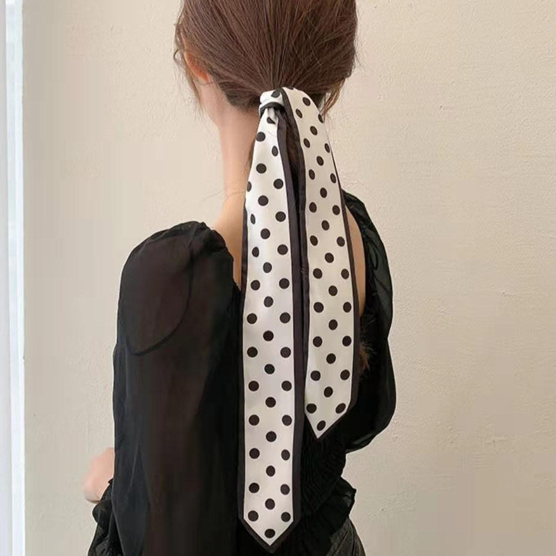 法式復古絲巾髮帶-波點白色