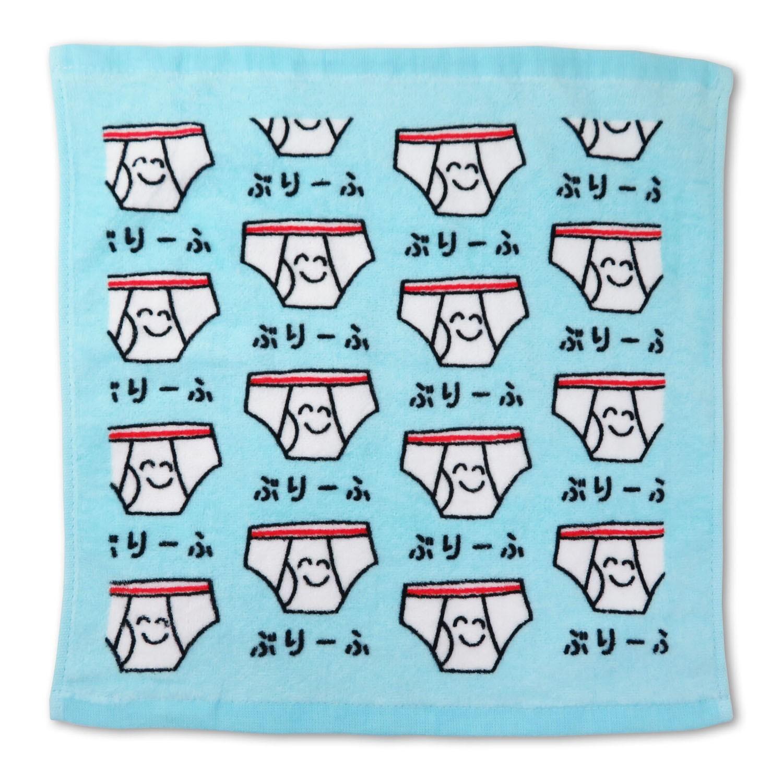 童趣插畫方巾/手帕-內褲-水藍