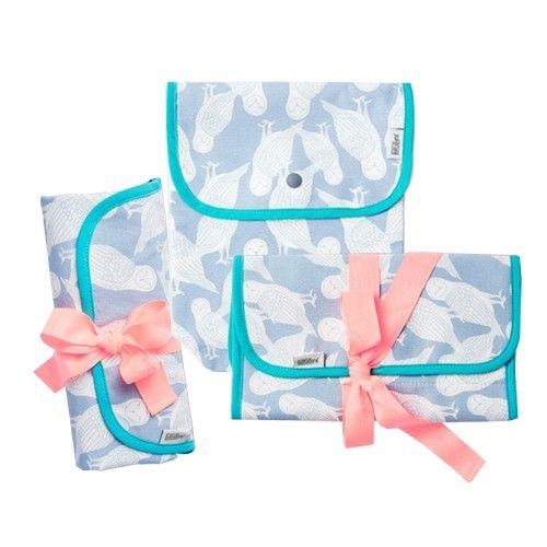 韓國Julgran 好感有機棉收納外出實用三入組(奶瓶收納包+尿布收納包+隨身帶防水尿布墊)-藍色貓頭鷹