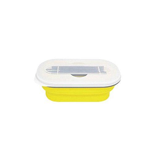 Lexngo - 可折疊餐盒筷子組-黃色-580ml