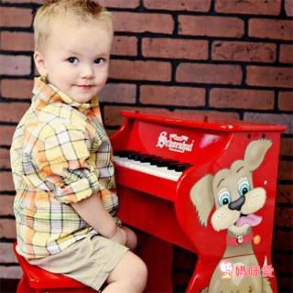 【限量】《美國Schoenhut 》可愛紅色小狗 兩階段玩具鋼琴(25鍵)