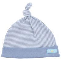BABY TALK - 100%台灣精梳棉40支紗新生兒帽-啾啾帽-藍白條紋 (3-6M)