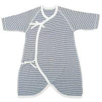 akachan honpo - 新生兒長袖針織橫紋蝴蝶裝-深藍色 (50~60)
