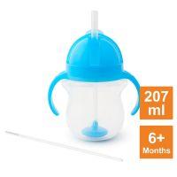 美國 munchkin - 貼心鎖滑蓋防漏杯(360度吸管)207ml-藍 (6M+)