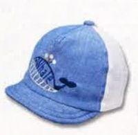 日本 SHAPOX - 日本製鯨魚刺繡棒球帽(附彈性帽帶)-水藍