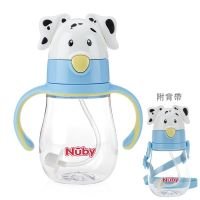 Nuby - 晶透杯系列 大麥町狗狗兩用造型杯-藍-400ml(360度吸管)